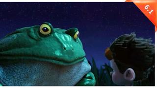 男孩在河边被青蛙吃掉