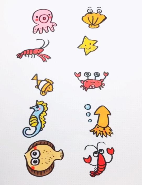表情 海洋动物的数字创意简笔画海星小丑鱼贝壳海马龙虾螃蟹 素描自学网 表情