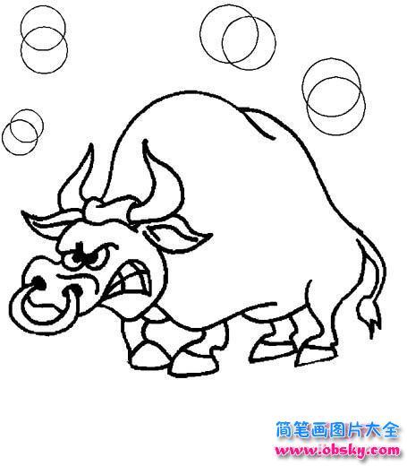 情 生气的公牛简笔画图片 简笔画小牛 儿童简笔画图片大全 表情