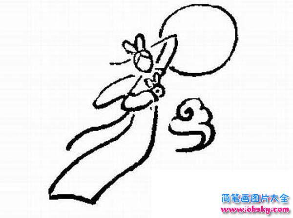表情 手绘线描嫦娥奔月简笔画图片 嫦娥 儿童简笔画图片大全 表情