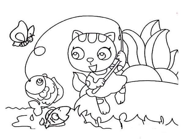 表情 小猫钓鱼简笔画,绘画图片,儿童文艺 绘艺素材网 表情