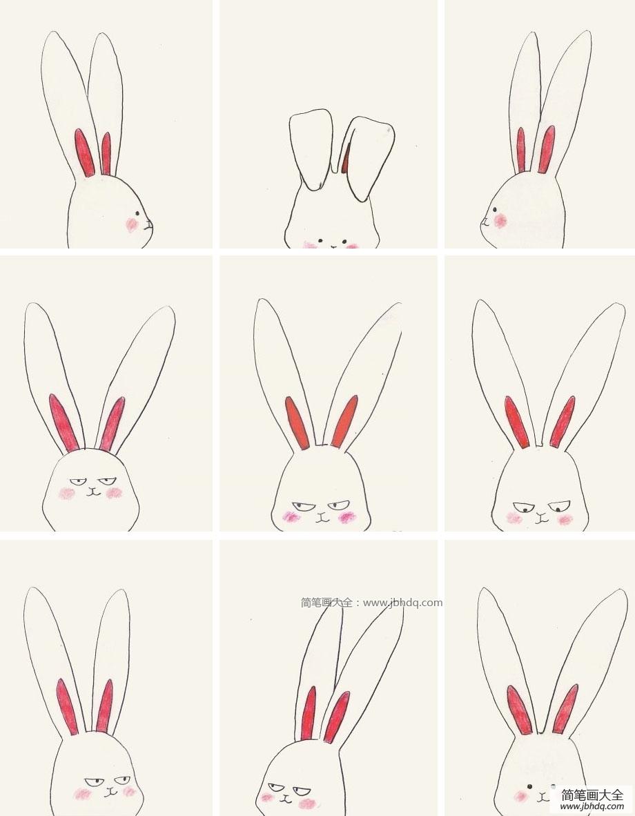 表情 9款超萌的兔子头像表情简笔画 简笔画 优美图 表情