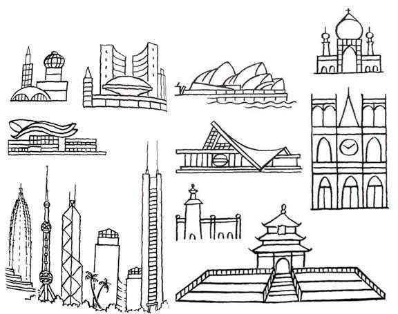 表情 建筑物简笔画 城市建筑物简笔画 随意云 表情