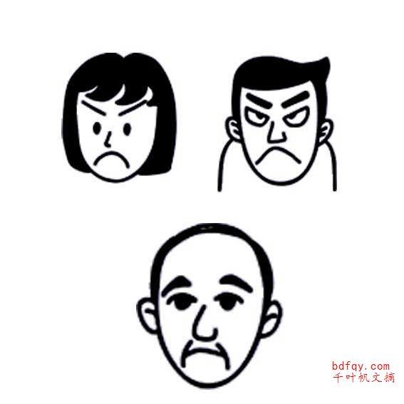 表情 愤怒表情简笔画 愤怒生气的人物头像表情简笔画 表情