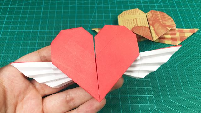 表情 长着天使翅膀的爱心,只需要一张正方形纸,2分钟完成 哔哩哔哩 ゜ ゜ つロ 干杯 bilibili 表情