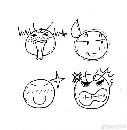 一组魔性表情包简笔画,可以用作手帐哦,作者 铃铛子520  表情