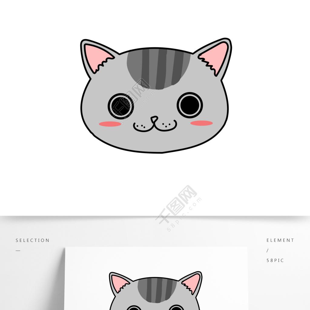 表情 卡通可爱简笔画猫头猫咪动物表情矢量元素模板免费下载 ai格式
