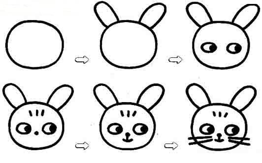 表情 可爱的兔子表情简笔画图片教程 巧巧简笔画 表情