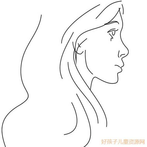 表情 女人头像侧面简笔画,女人头像侧面的简笔画画法 人物简笔画 ertongzy.com 表情