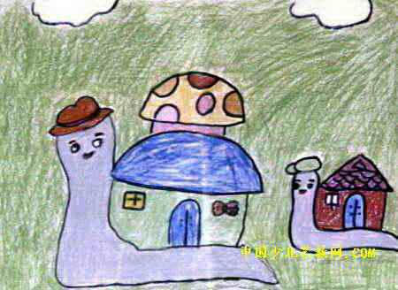 表情 蜗牛的小房子简笔画 蜗牛的小房子图片欣赏 蜗牛的小房子儿童画画作品 有伴网 表情