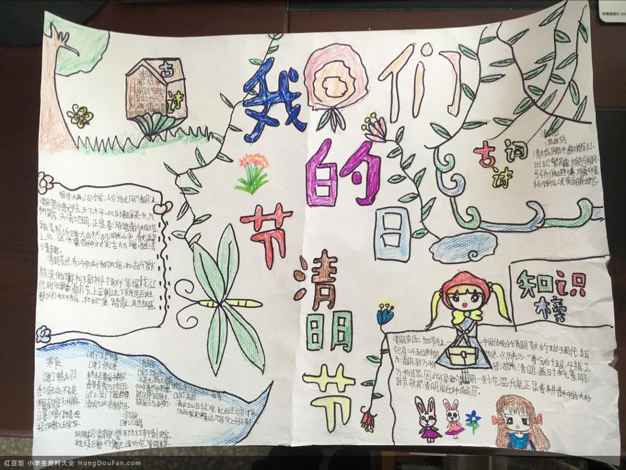 表情 清明节传说以及古诗词一年级绘画手抄报 红豆饭小学生资料大全