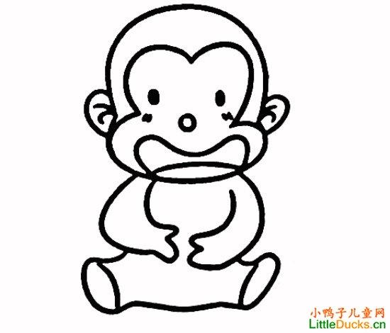表情 儿童简笔画教程 吃桃的小猴子简笔画画法 吃桃的小猴子简笔画教程 小  表情