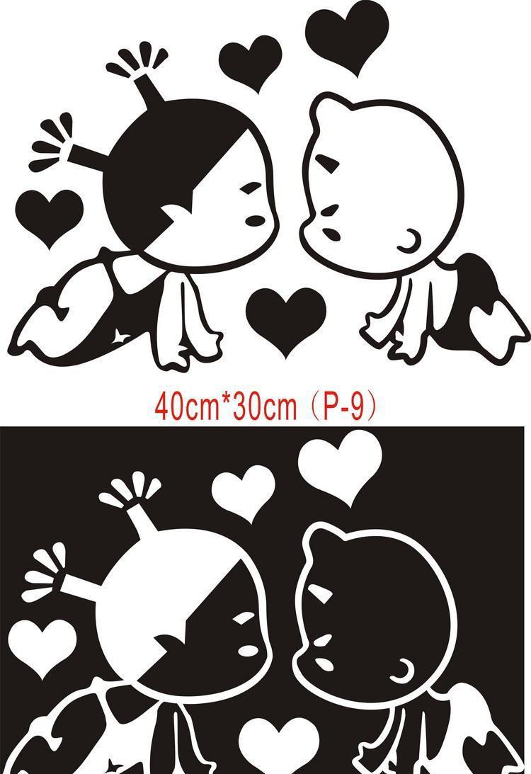 接吻的情侣简笔画_可可