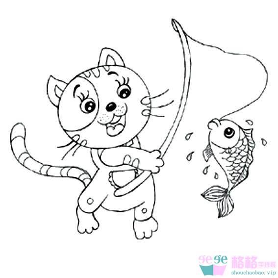 表情 小猫钓鱼图片简笔画 小猫钓鱼的画法 3 格格 表情