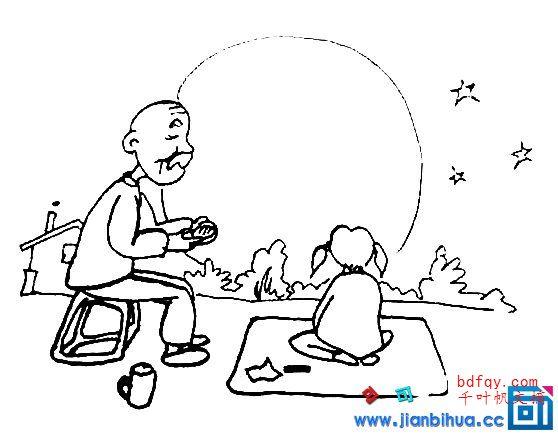 表情 中秋赏月简笔画中秋赏月吃月饼简笔画,优秀简笔画 狗万提现快 表情