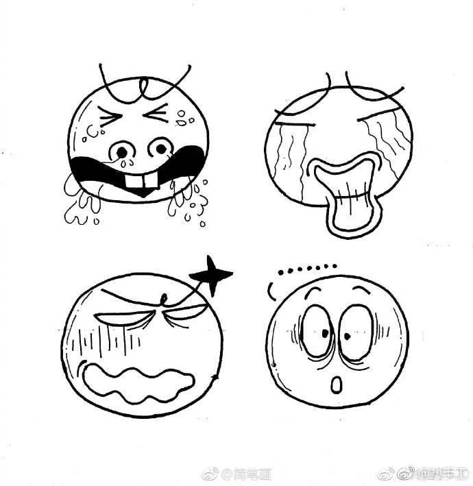 表情 简笔画手绘小表情,简单易学呢cr 铃铛子 来自全球少儿美术精  表情
