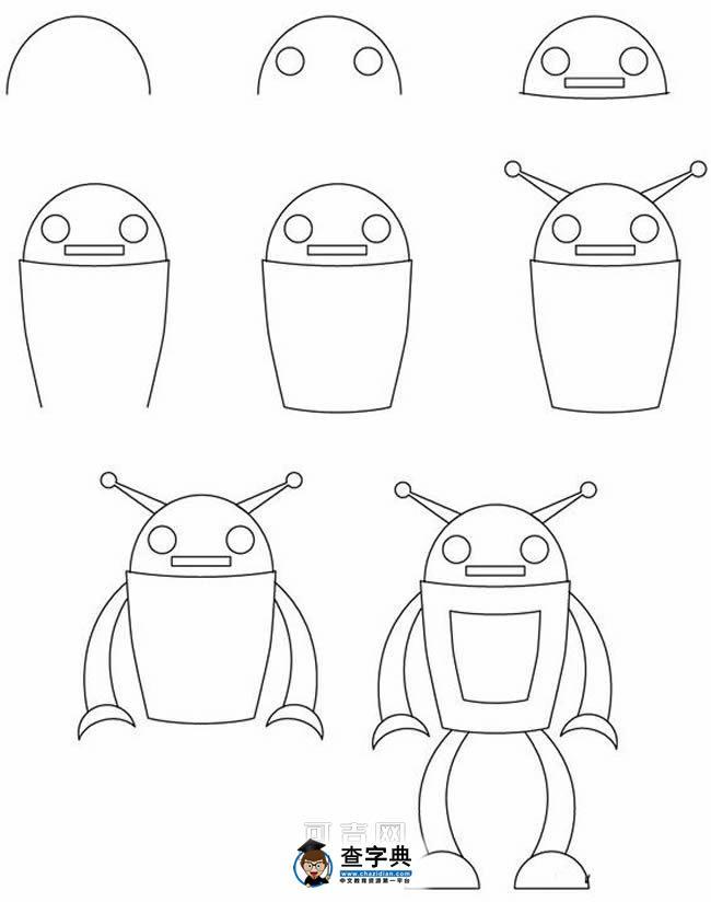 表情 简笔画人形机器人的画法图片 简笔画教案 查字典幼儿网儿童画 表情