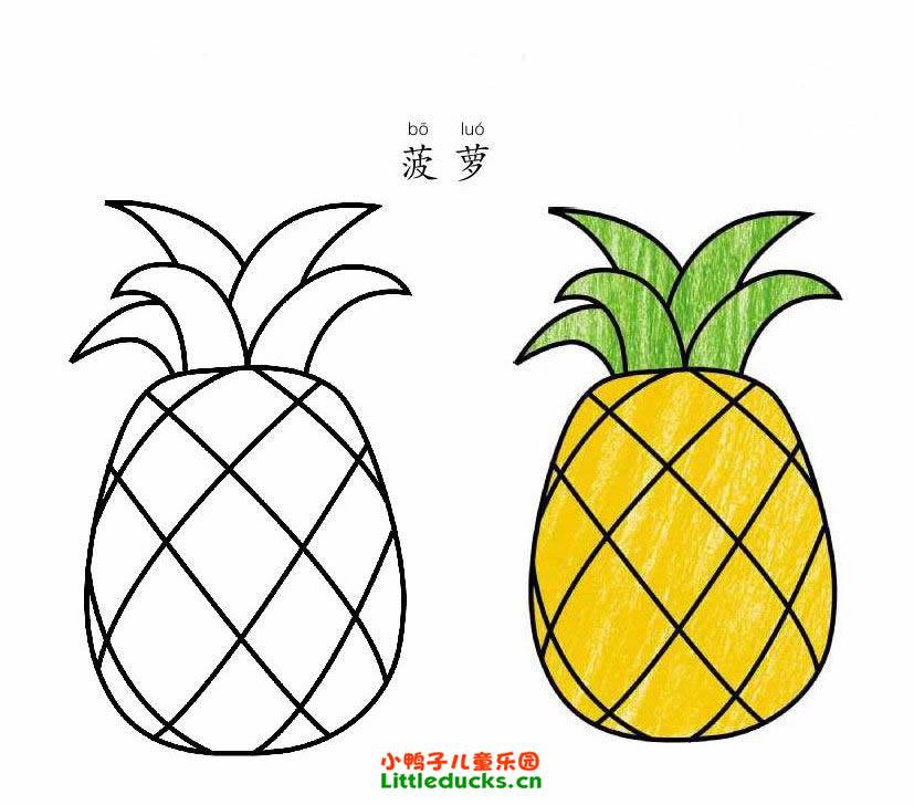 表情 菠萝的简笔画图片大全 简笔画菠萝水果 小鸭子儿童乐园littleducks.