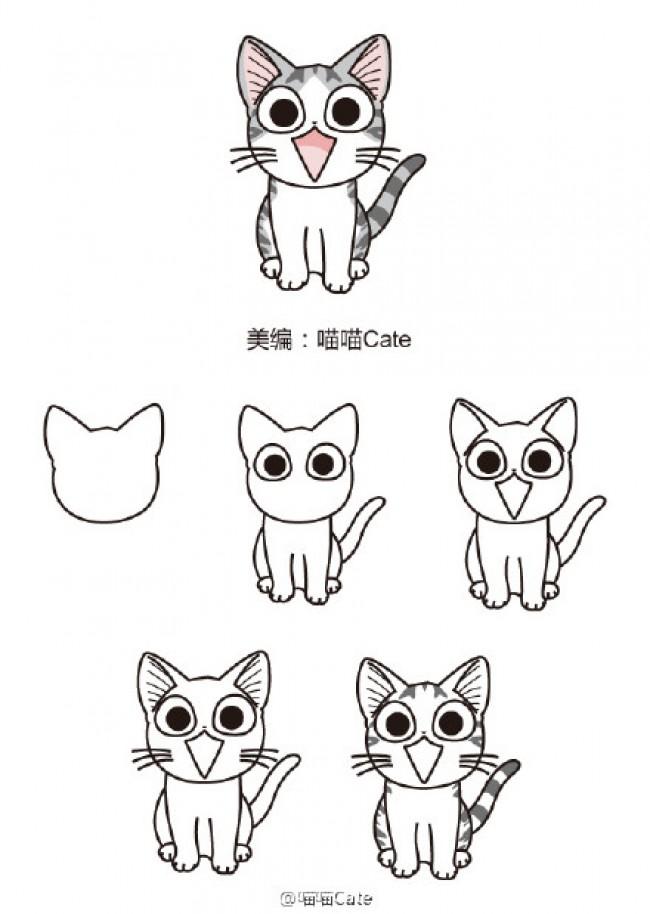 表情 甜甜私房猫简笔画教程图片起司猫怎么画起司猫的画法 优艺星 表情