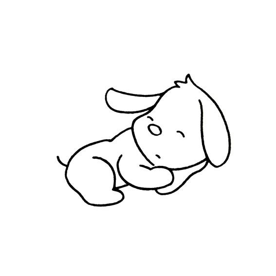 表情 动物简笔画图片 小狗狗睡觉的画法动物 育才简笔画 表情