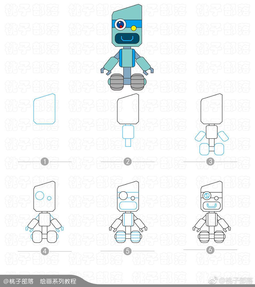 表情 超级无敌又萌萌哒的机器人简笔画 简约型文化普通难度 科幻人物 千千简笔画 表情