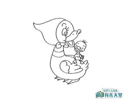 表情 仓皇逃跑并回头观察的小鸭子简笔画图 育儿天堂 表情