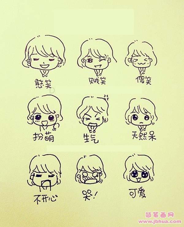 表情 q版可爱女生表情简笔画 简笔画网 表情