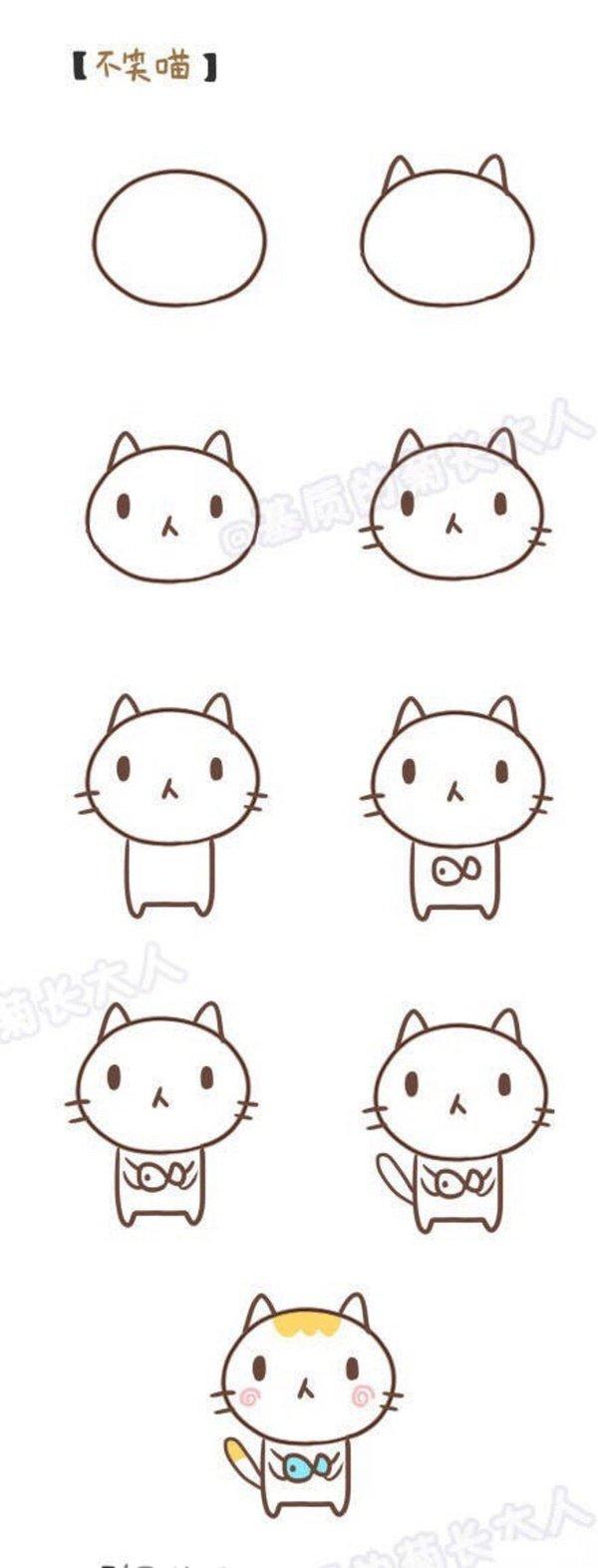 小猫和小猪的简笔画手绘教程 63手工网 表情