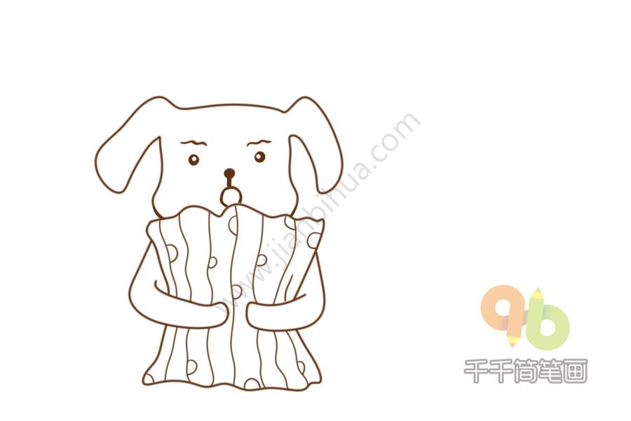 表情 准备睡觉的狗狗简笔画 简约型文化普通难度 狗 千千简笔画 表情
