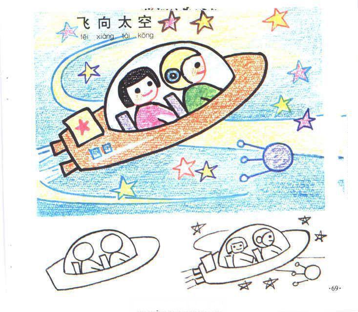 表情 儿童简笔画大全 飞向太空 人物场景 点点鸭 表情