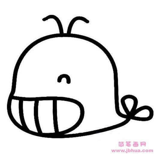 表情 超萌可爱鲸鱼简笔画图片 简笔画网 表情