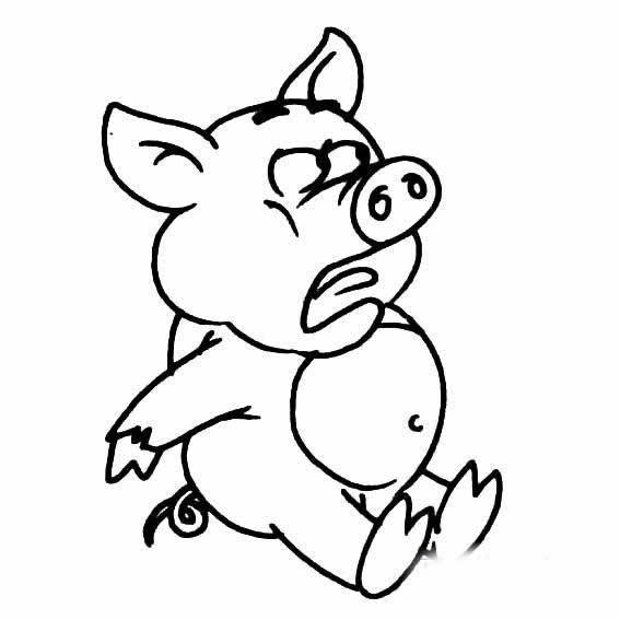 表情 淘气小猪猪简笔画 害怕的小猪简笔画 育才简笔画 表情