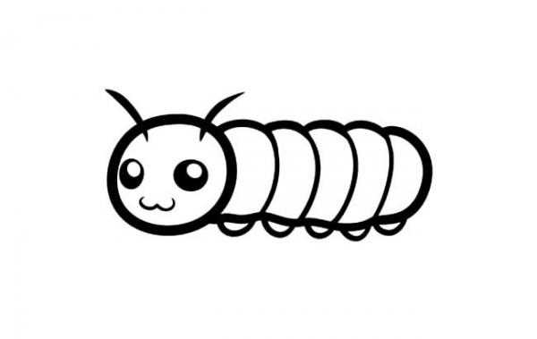 表情的小毛毛虫的简笔画作品 动物简笔画 育儿天堂 表情