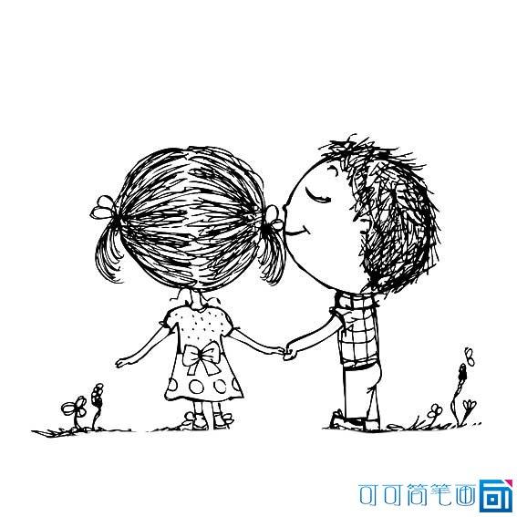 表情 卡通简笔画情侣小人 12张 情侣图片 表白图片网 表情