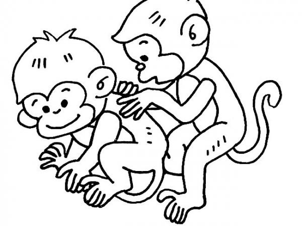 相挠痒的小猴子简笔画图 育儿天堂 表情