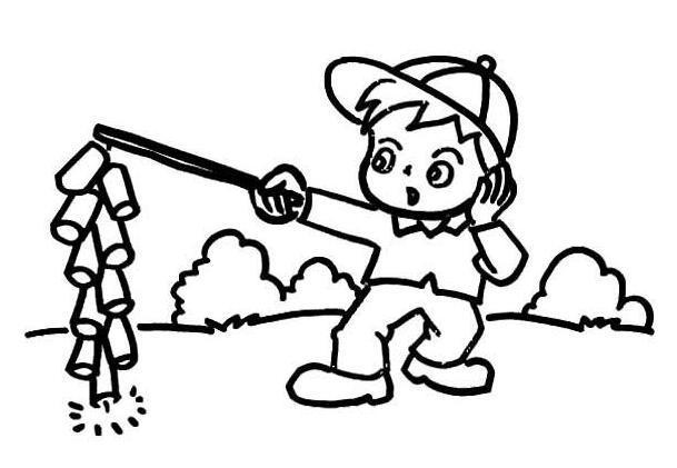 表情 小男孩放鞭炮简笔画,绘画图片,儿童文艺 绘艺素材网 表情