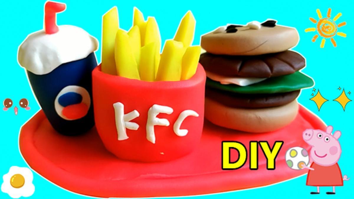 橡皮泥手工制作kfc肯德基全家桶!超级汉堡加薯条哦!