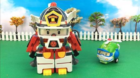 变形警车珀利太空版 罗伊消防车机器人 14