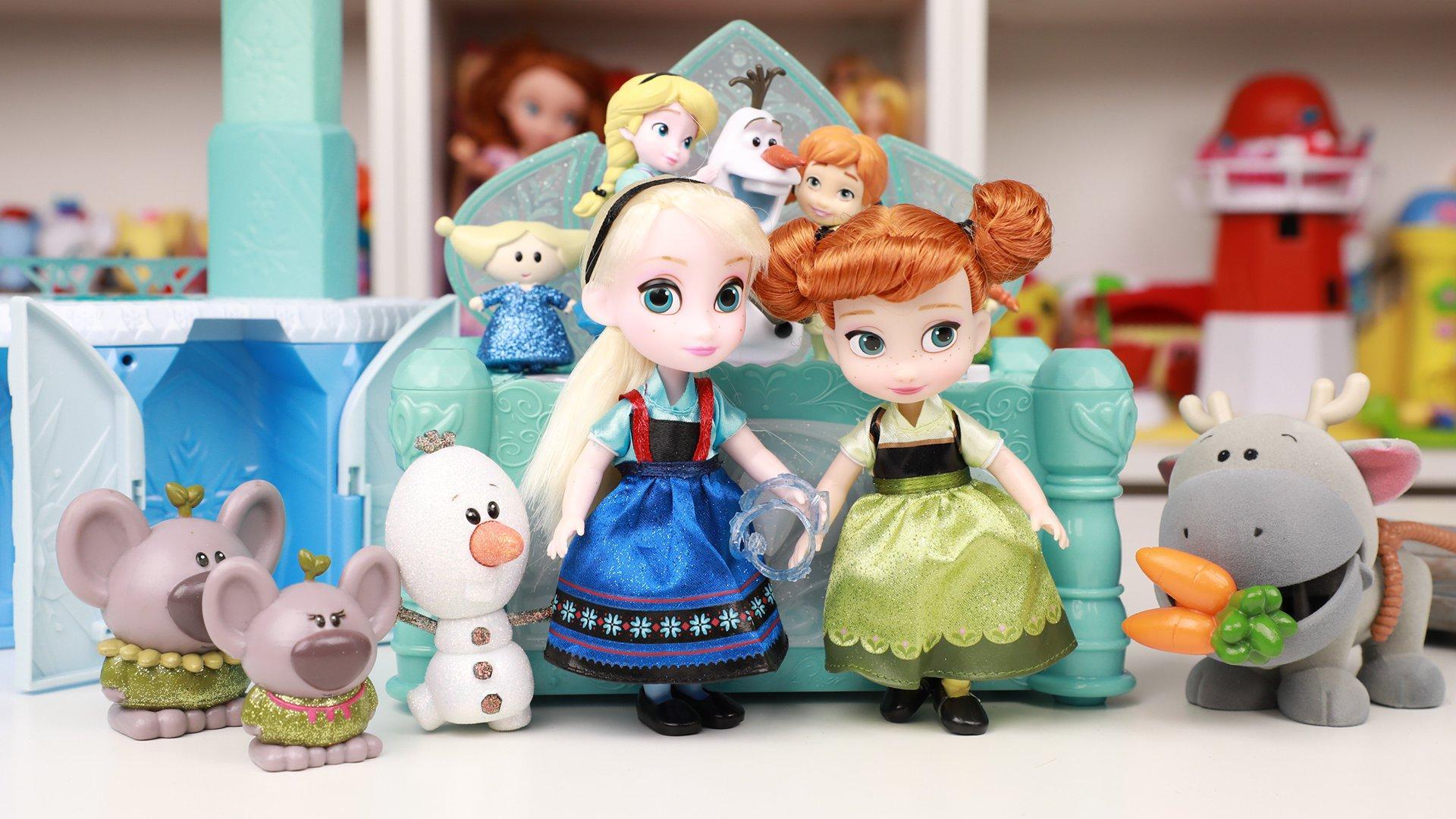 冰雪奇缘安娜公主冰雪城堡寻艾莎女王 迪士尼动画大师q版玩具分享