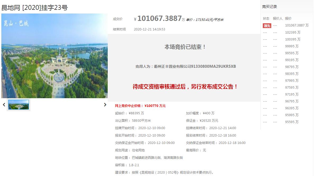 土拍快訊   29傢房企爭搶!碧桂園10億總價競得昆山陽澄湖站地塊!