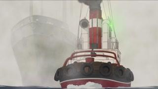 小船遇上大船 这个波浪画的真好看