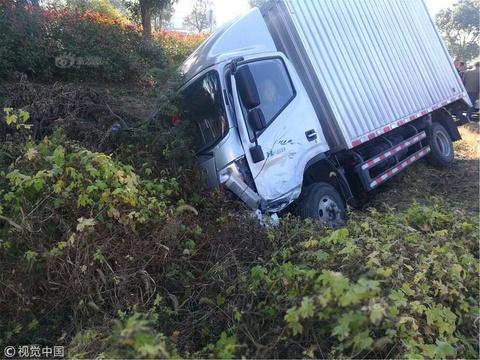 男子開車看挖掘機分神 將貨車撞至溝里