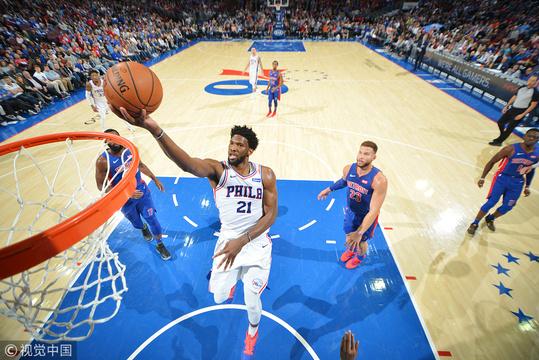 NBA常規賽:76人100-99活塞