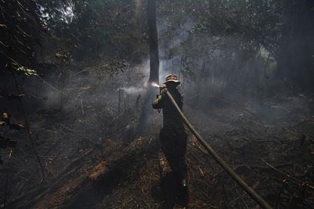 印尼多处林火致空气污染 民众戴口罩出门