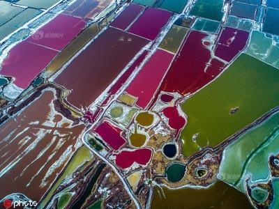 山西运城冬日盐湖色彩斑斓 宛如大地打翻的调色盘