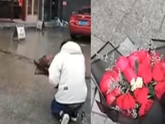 男子雨中长跪医院门口求护士女友原谅 后被告知女友不上班