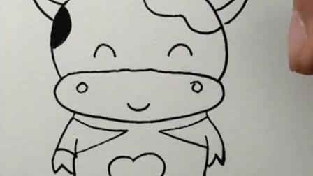 教孩子画牛,让孩子想想跟牛有关的成语