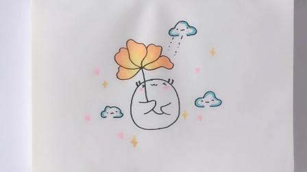 简笔画教程:手把手教你画一只拿着花的小可爱
